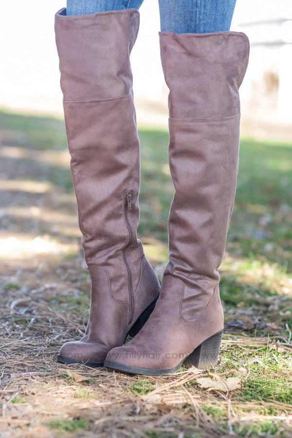 Take A Back Seat Tall Open Calf Boots In Taupe - Filly Flair