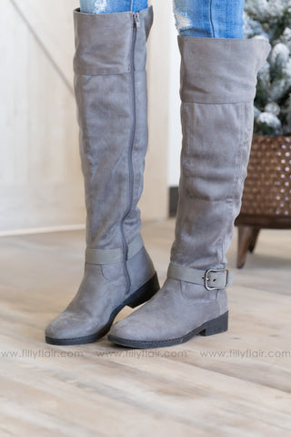 Take A Back Seat Tall Open Calf Boots In Black