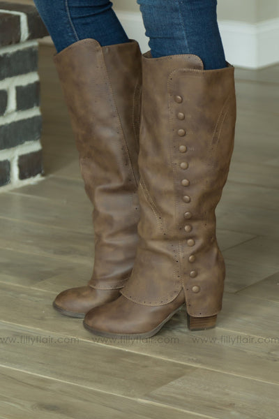 Not Rated Maude Boots in Taupe - Filly Flair