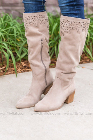 Next To Me Tall Lace Up Detail Boots in Camel