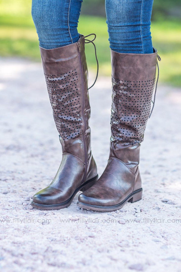 Tall Barcelona Boots with Laser Cut Design in Brown - Filly Flair