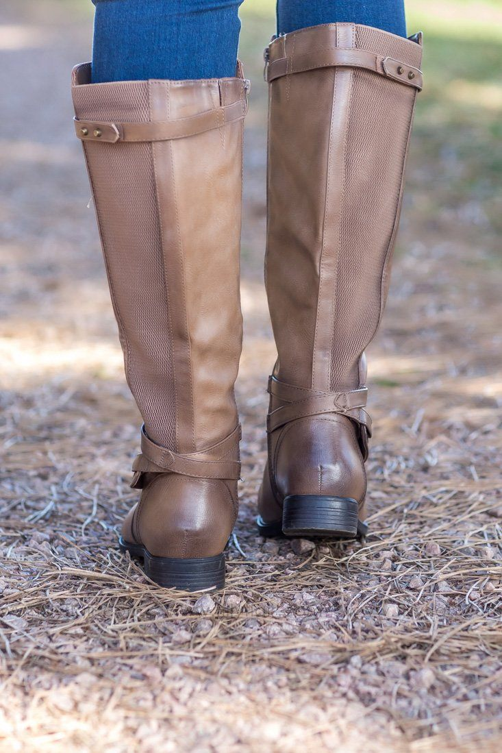 Take A Step Up Wide Calf Boot in Brown - Filly Flair
