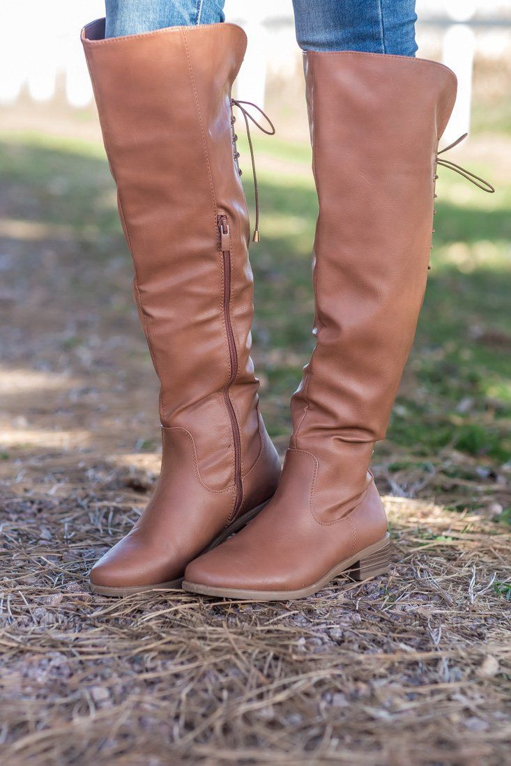 Next To Me Tall Lace Up Detail Boots in Camel - Filly Flair