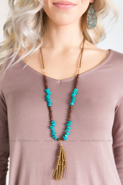 Feel The Fringe Tassel Long Stone Necklace in Turquoise - Filly Flair