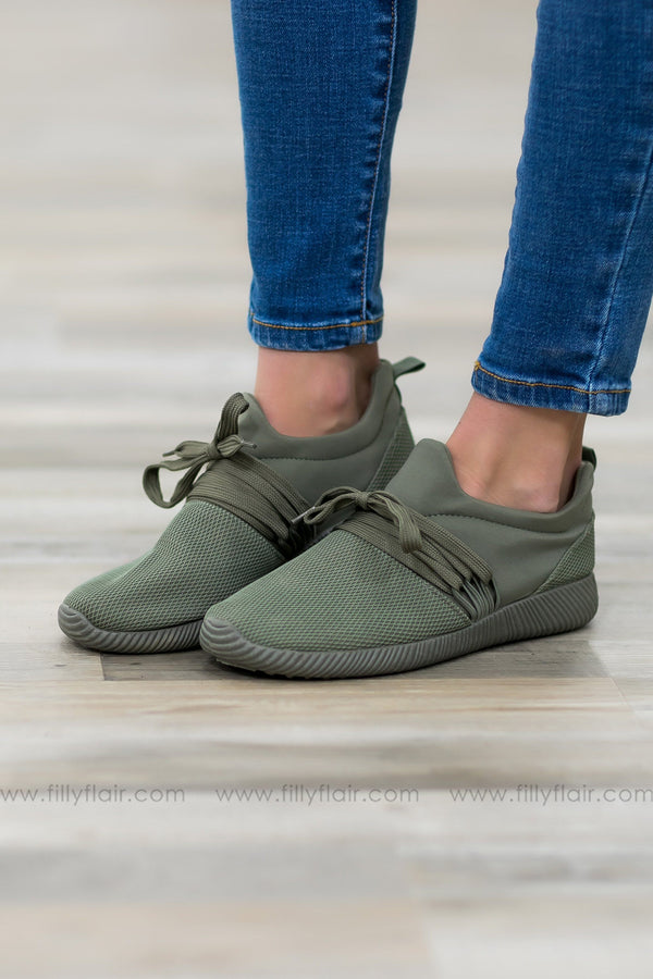 Run Away With Me Olive Sneakers - Filly Flair