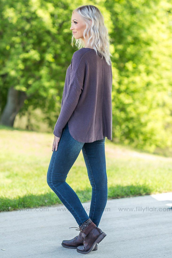 Follow Me Home Thermal Top In Eggplant - Filly Flair