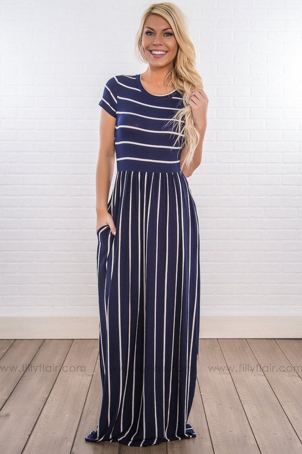 No Promises Thin Striped Short Sleeve Maxi Dress In Navy