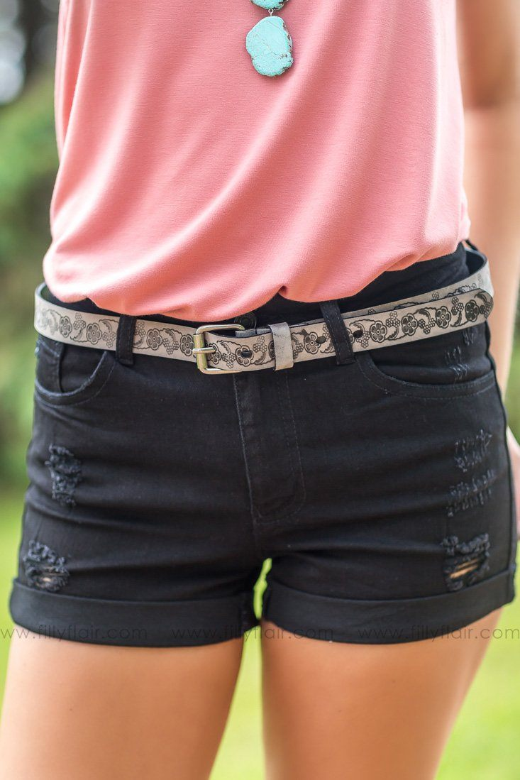 Hold on For One More Day Charcoal Floral Printed Belt - Filly Flair