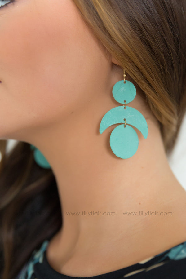 Love The Game Three Pendant Earrings In Mint - Filly Flair