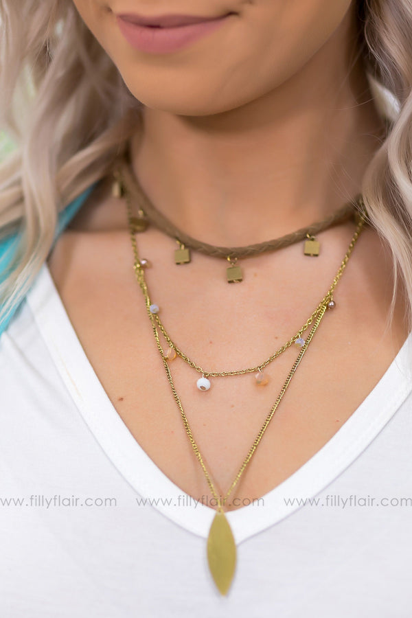 All I'm Thinking Tan Suede Layered Gold Necklace - Filly Flair