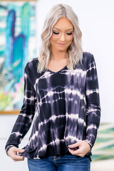 Love Me Like That Long Sleeve Tie Dye Top in Black - Filly Flair