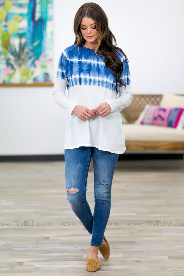 Not The Only One Long Sleeve Tie Dye Color Block Top in Blue - Filly Flair