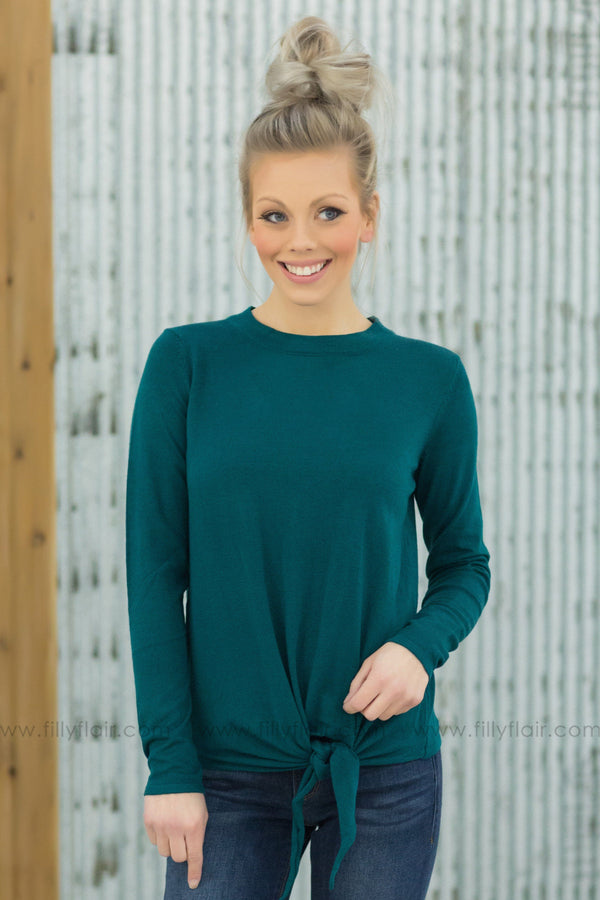 Forever Your Girl Long Sleeve Tie Sweater In Dark Teal - Filly Flair