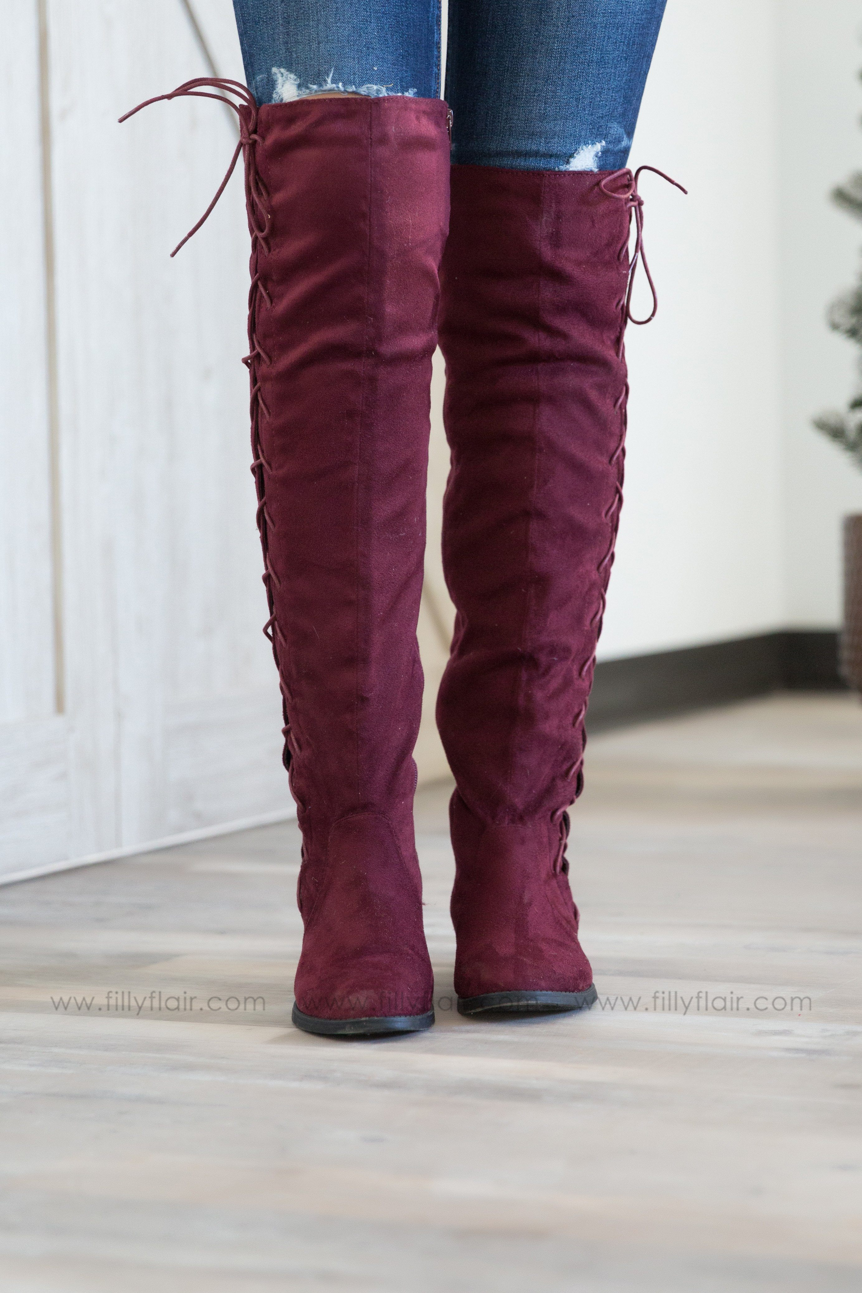Lace Me Up Burgundy Boots - Filly Flair