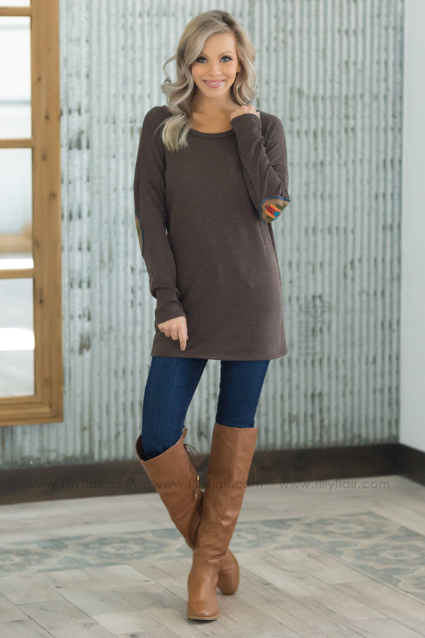 *Pieces of You Long Sleeve Aztec Elbow Patch Top in Mocha - Filly Flair