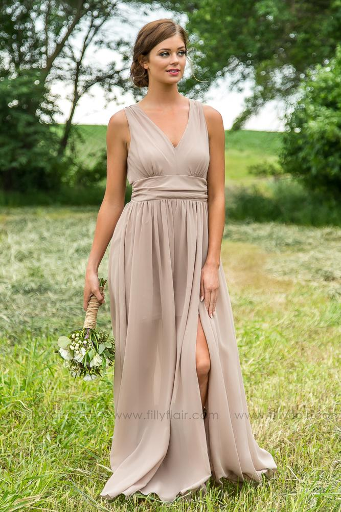 4841bc951e Isabella Bridesmaid Dress In Taupe - Filly Flair