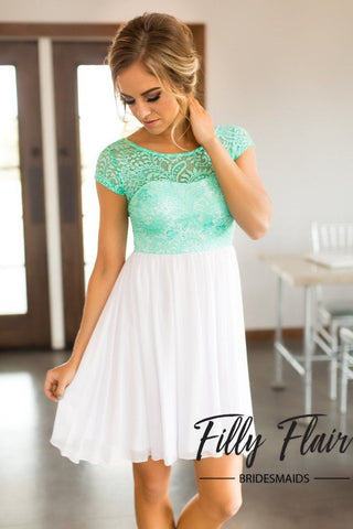 mint top lace dress