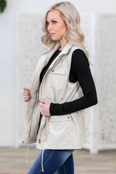 Wherever They Go Zip Up Utility Vest in Tan - Filly Flair