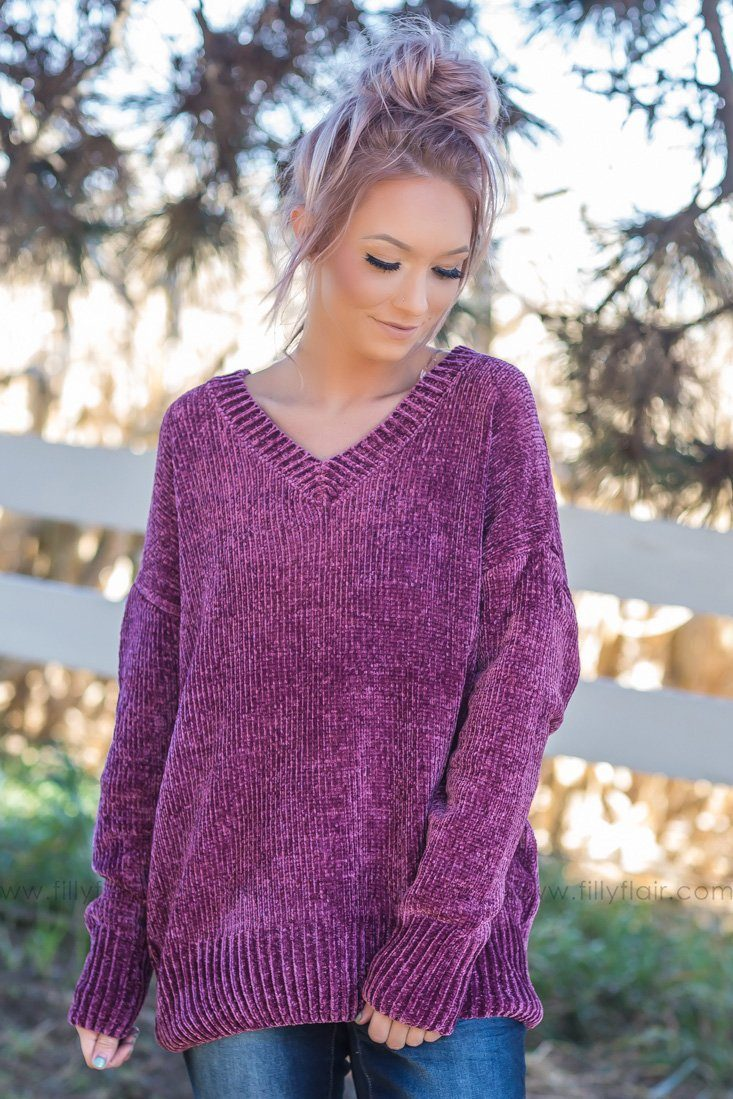 Take Care Oversized V-Neck Sweater In Plum - Filly Flair