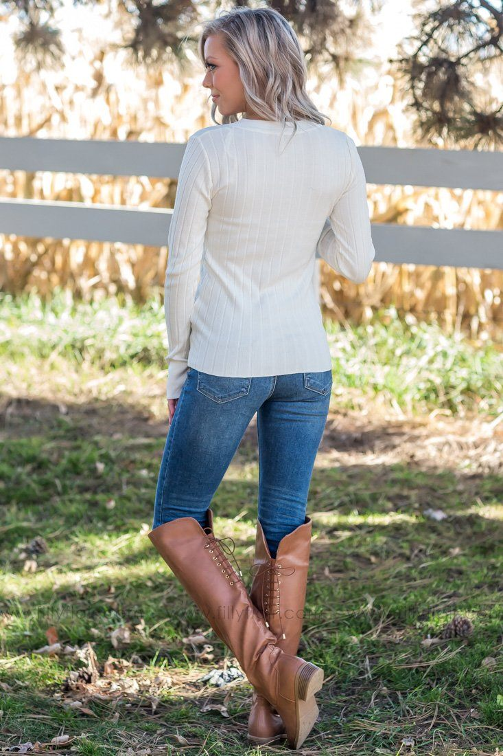 Say It With Buttons Ribbed V-Neck Sweater In Ivory - Filly Flair