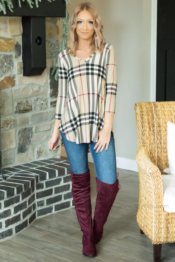 All Grown Up V-Neck Plaid Top in Tan - Filly Flair
