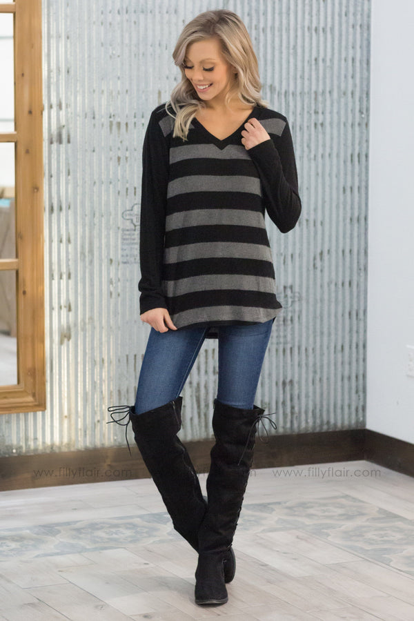 A Little 'Bout Love Striped V-Neck Top In Black Charcoal - Filly Flair