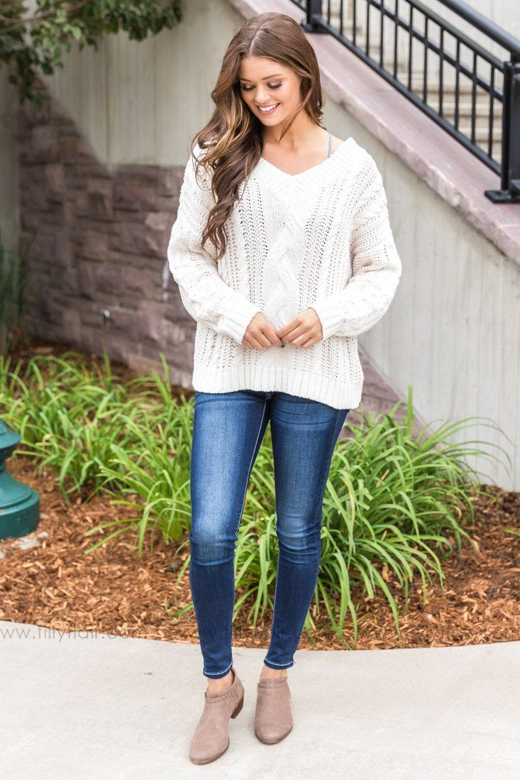 Cozy On Up V-neck Sweater In Oatmeal - Filly Flair