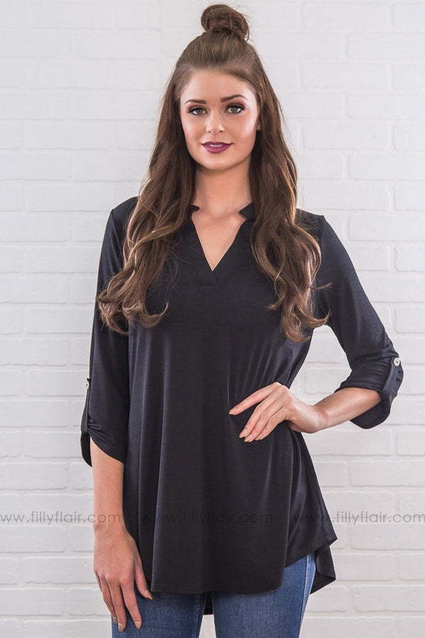 What About Us V Neck Top In Black