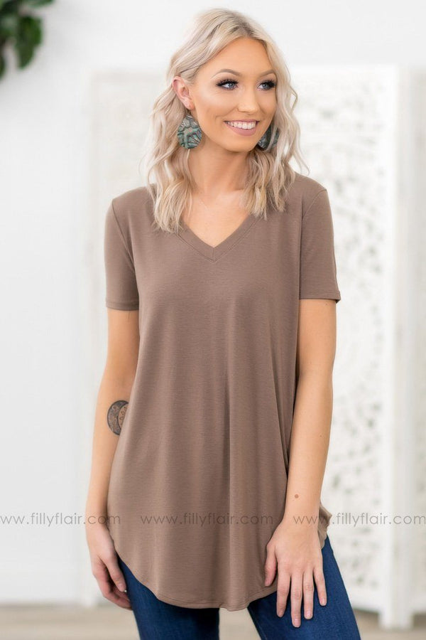 Pulls Me In Short Sleeve V Neck Basic Top in Mocha - Filly Flair