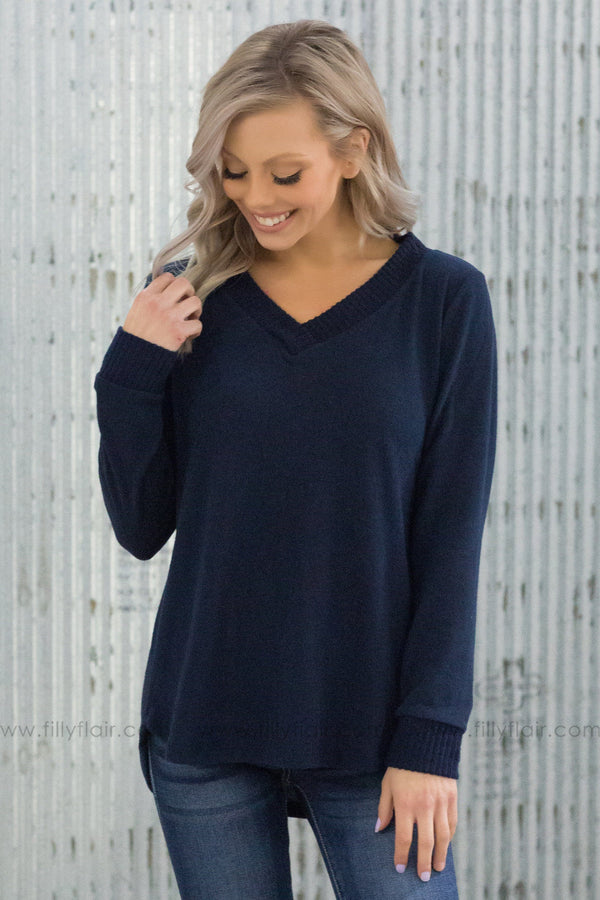 Girls Night Out Long Sleeve V-Neck Sweater In Navy - Filly Flair