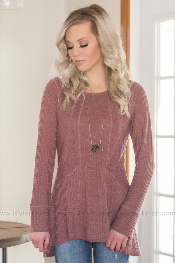 The Heart Doesn't Lie Lace Top In Mauve