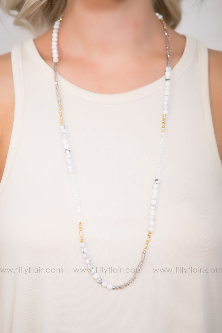 Blocks Of Grey Long Beaded Necklace
