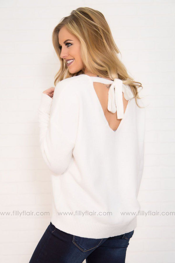 If I'm Lucky Tie Back Sweater In Ivory