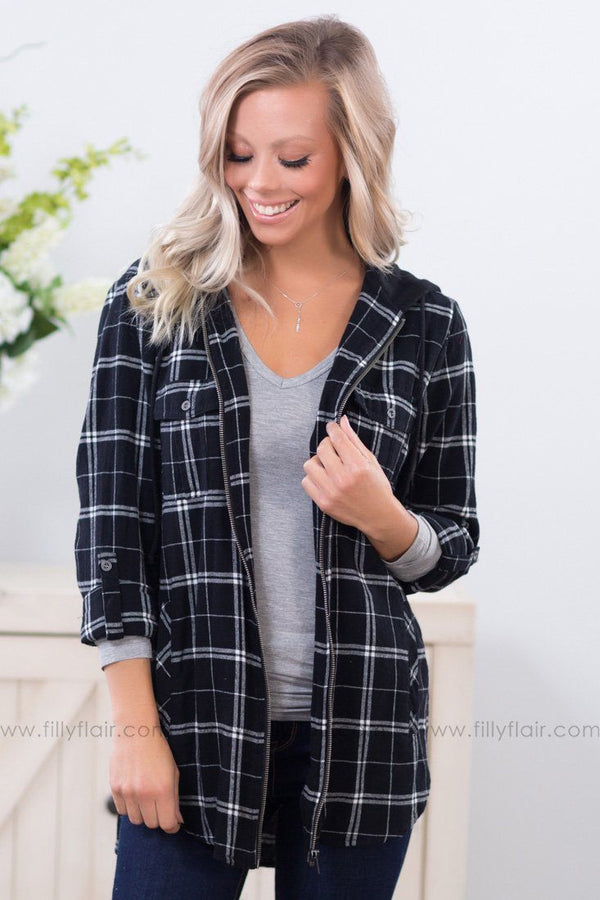 Love Like This Lightweight Hooded Flannel Jacket In Black White - Filly Flair