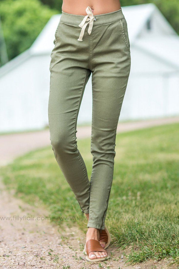 Dare To Dream Tie Waist Pants In Olive - Filly Flair
