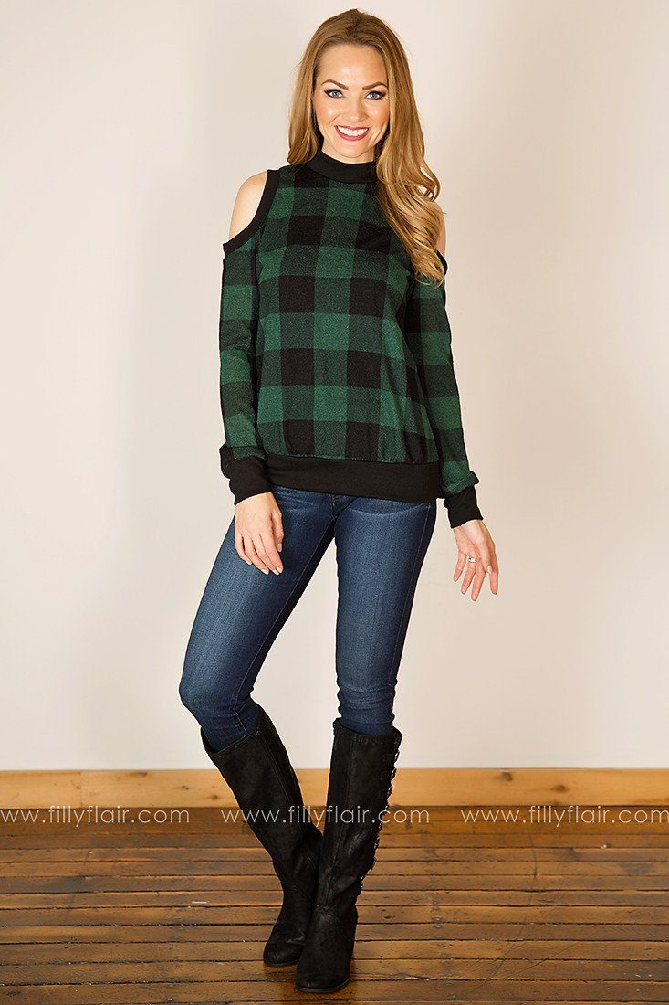 Polished Plaid Cold Shoulder Tunic in Green