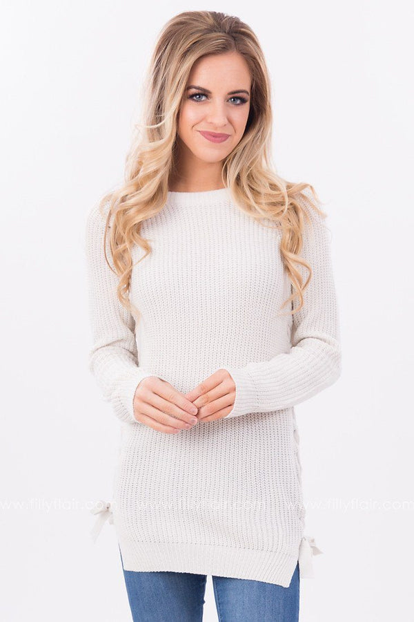 Catalina Lace Up Sweater in Frost