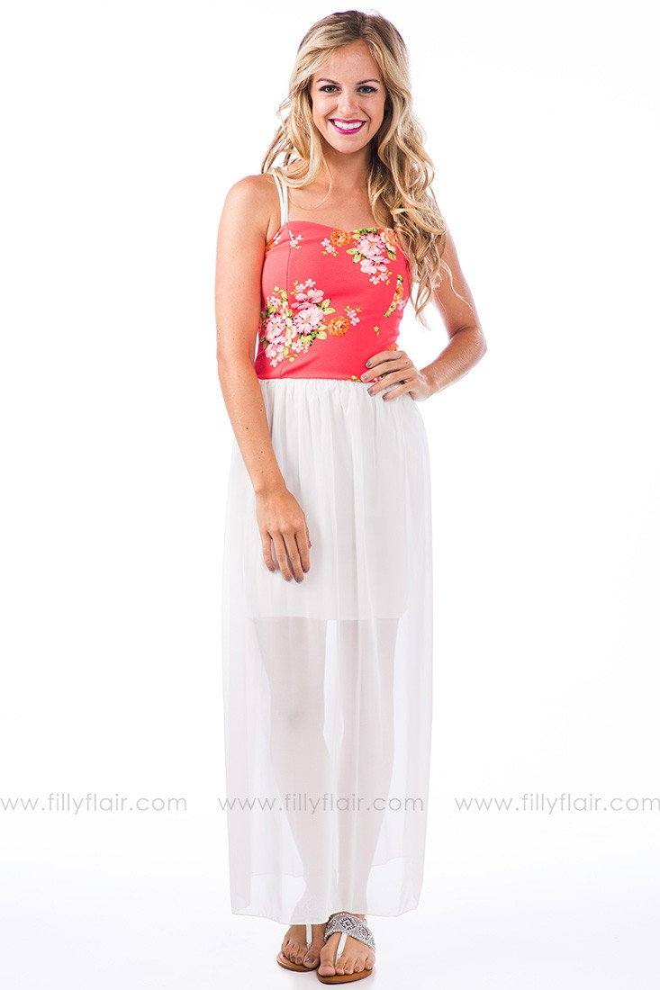 Flowering Orchard Maxi Dress in Coral