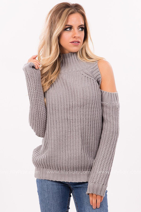 Subtle Romance Cold Shoulder Sweater in Charcoal