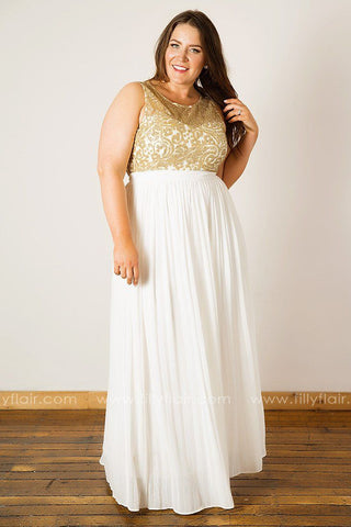 Gilded Lily Sleeveless Lace Pleated Dress in Ivory
