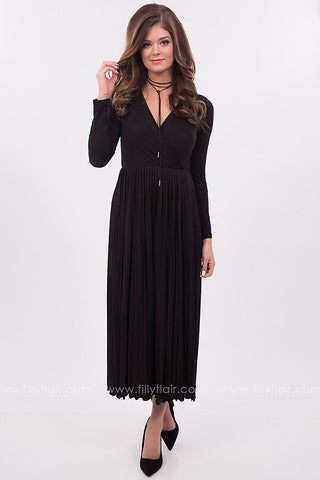 Midnight Pleated Maxi Dress in Black