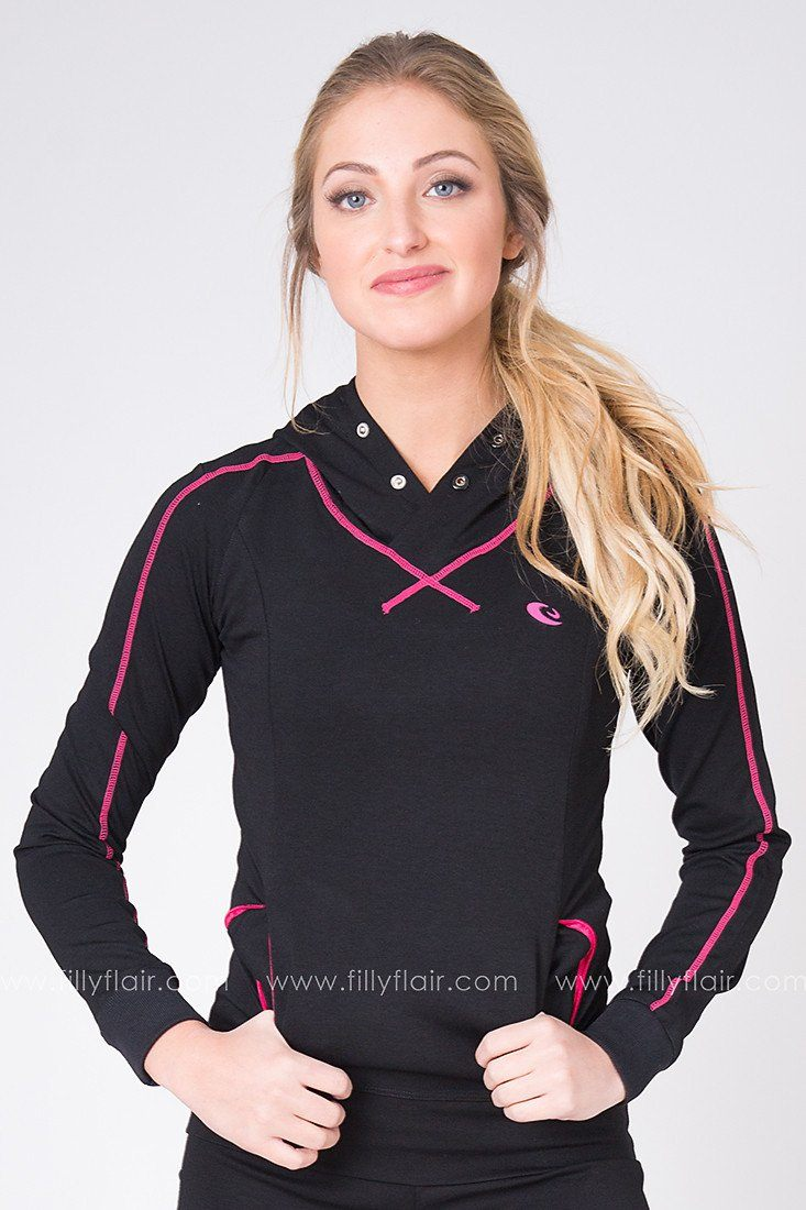 Cool Conditioning Hoodie in Black and Pink
