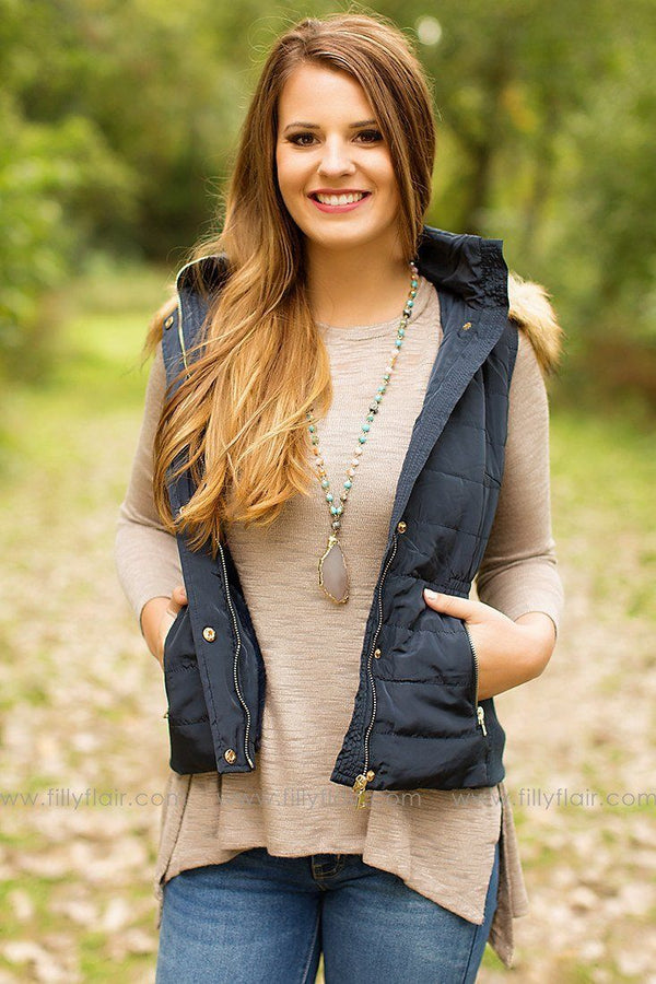 Winter's End Hooded Vest in Navy