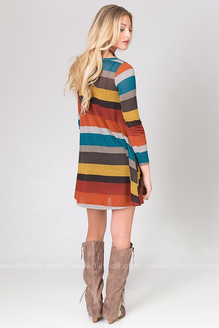 Pleasantries Striped Long Sleeve Dress in Mustard and Rust