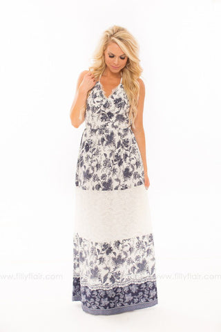 An Expression of Beauty Floral and Lace Maxi Dress in Navy