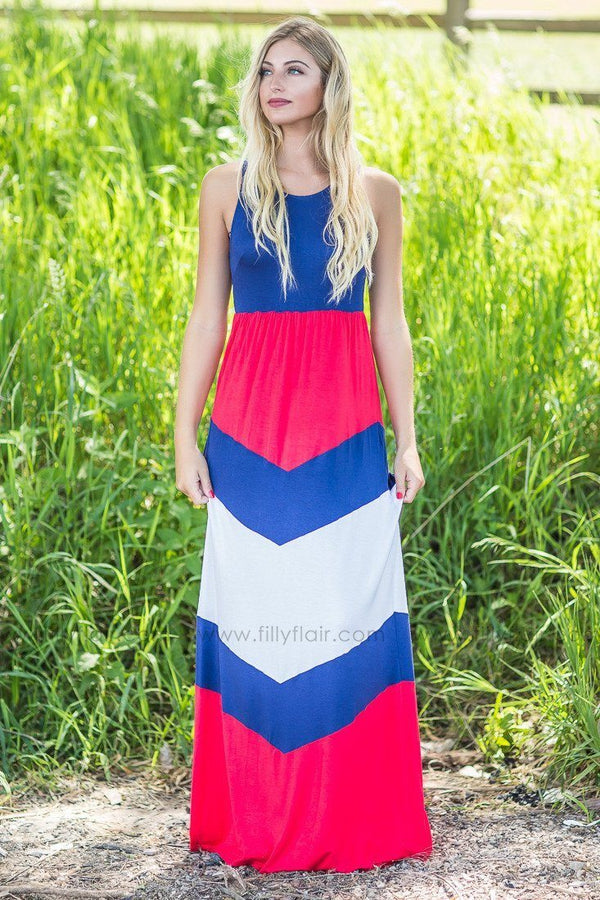 Land I Love Red and White Maxi Dress