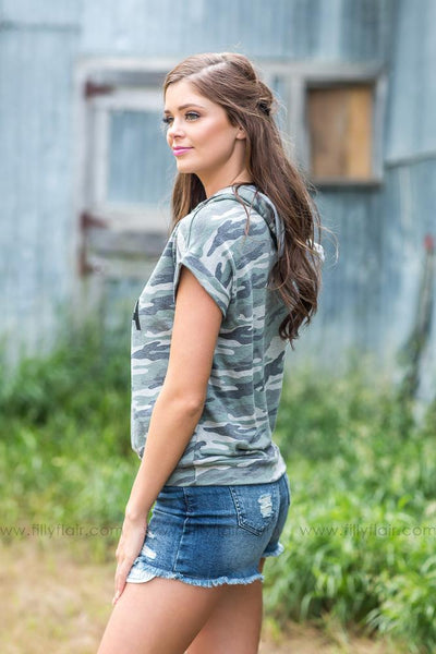 "Camo ""Army Mama"" Short Sleeve Hoodie - Filly Flair"