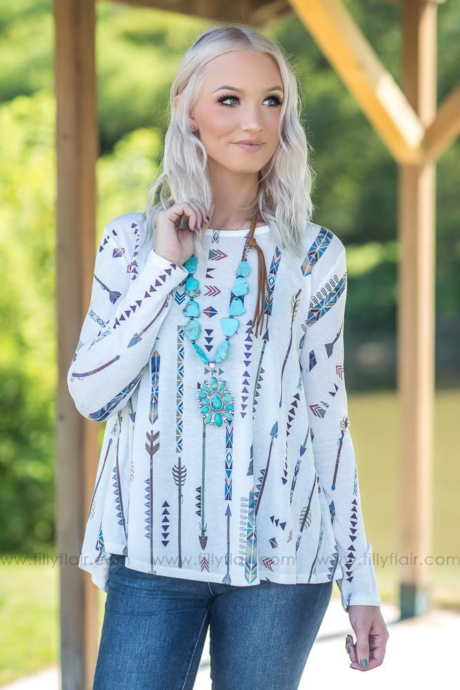 Sets Us Free Multi Color Arrow Long Sleeve Top in White - Filly Flair