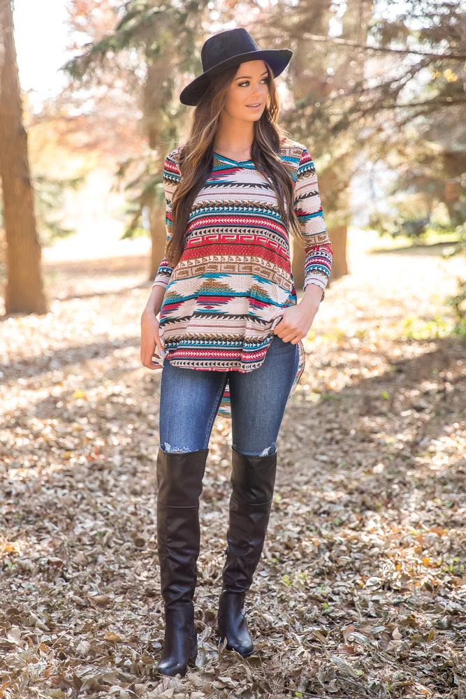 On The Road Aztec High Low Long Sleeve Top - Filly Flair
