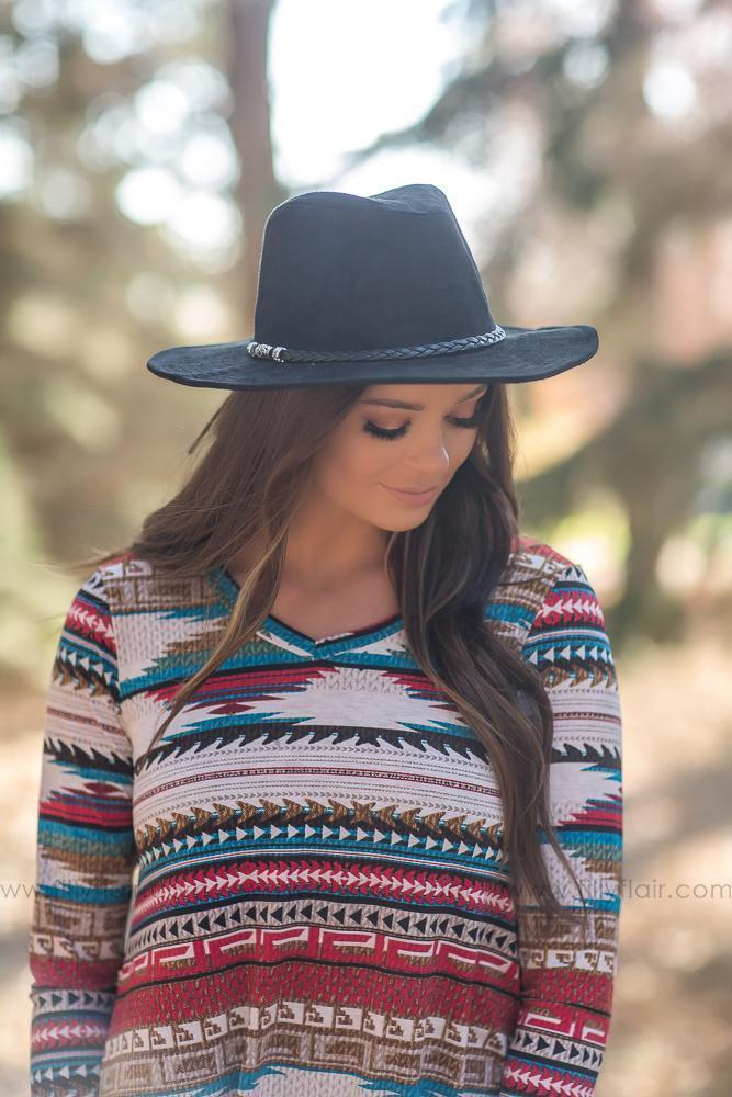 See The World Black Hat With Braided Hatband - Filly Flair